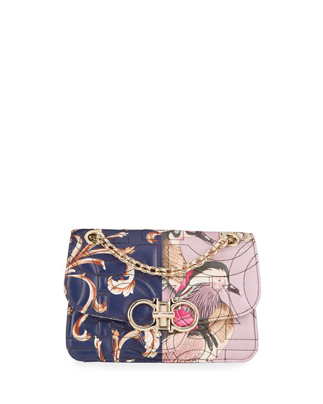 Salvatore Ferragamo Gancio Quilting Embroidery Crossbody Bag