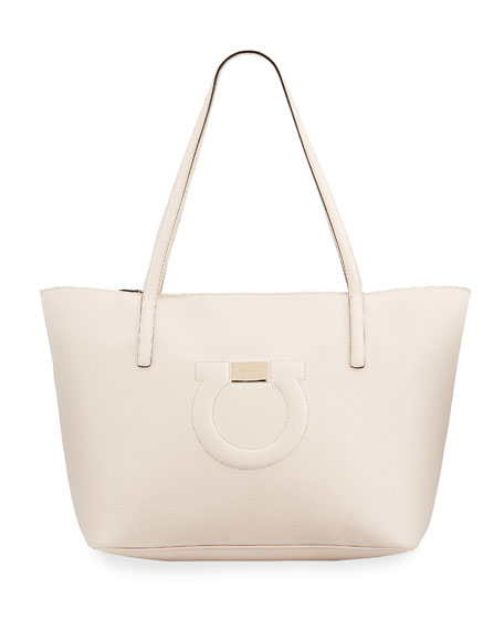 Salvatore Ferragamo Gancio City Grainy Leather Tote Bag