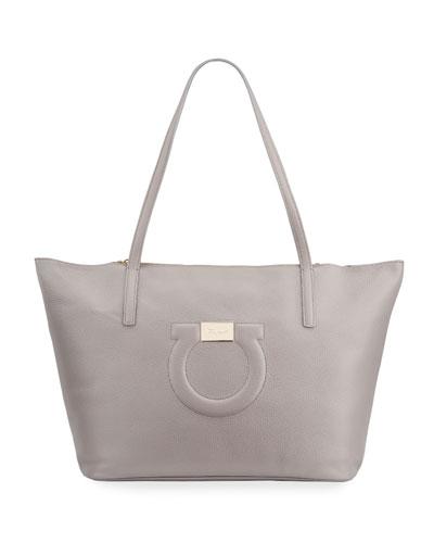 Gancio City Grainy Leather Tote Bag