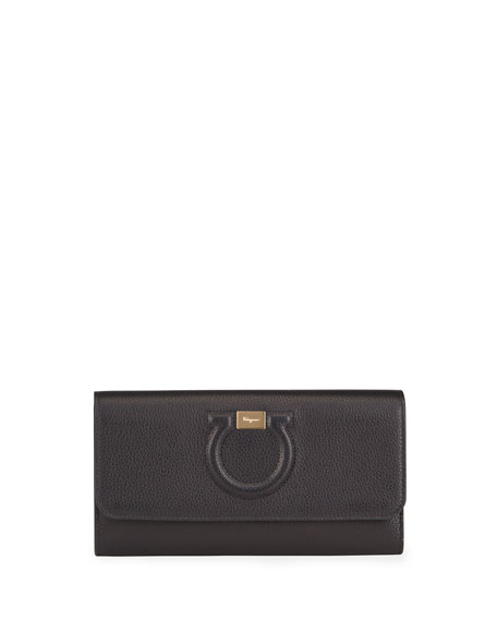 Salvatore Ferragamo Gancio City Grainy Leather Wallet on Chain