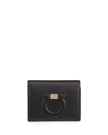 Salvatore Ferragamo Gancio City Grainy Leather French Wallet