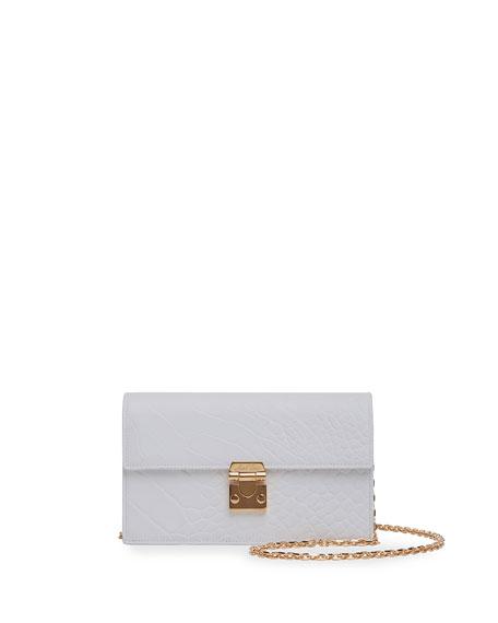 Mark Cross Jacqueline Croc-Stamped Leather Shoulder Bag