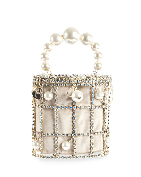 Rosantica Olimpia Pearl-Handle Caged Minaudiere Bag