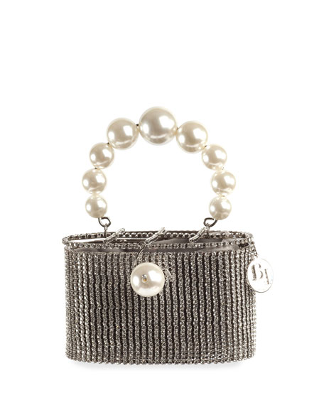 Rosantica Super Holli Pearl-Handle Caged Minaudiere Bag