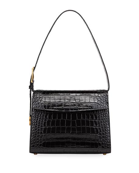Balenciaga Ghost Medium Crocodile-Embossed Leather Shoulder Bag