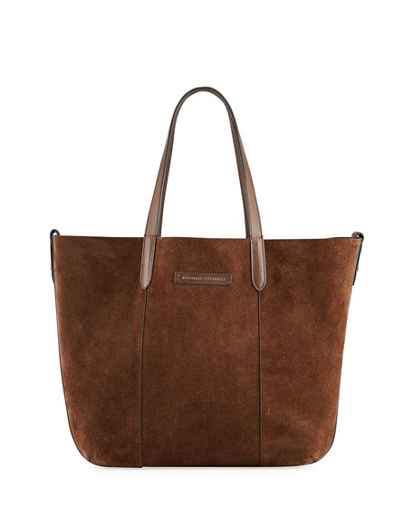 Brunello Cucinelli Medium Reversible Suede & Leather Tote Bag