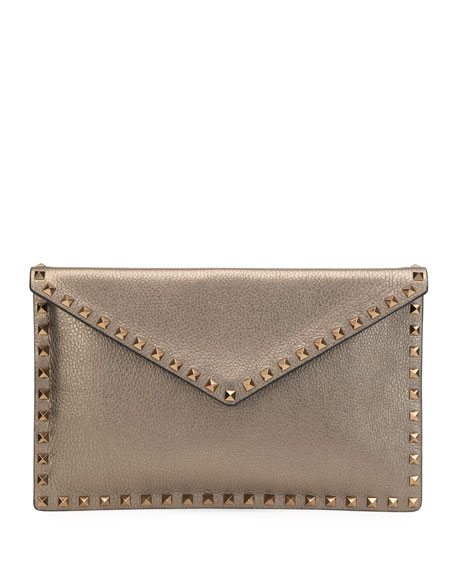 Valentino Garavani Rockstud Large Metallic Envelope Clutch Bag