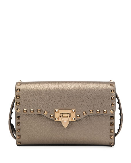 Valentino Garavani Rockstud Small Metallic Leather Shoulder Bag