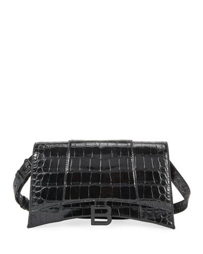Hour Mock-Croc Leather Shoulder Bag