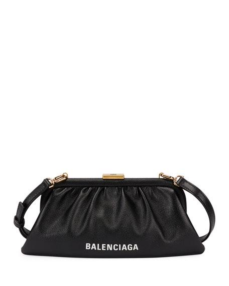 Balenciaga Cloud Leather Logo Phone Holder with Strap