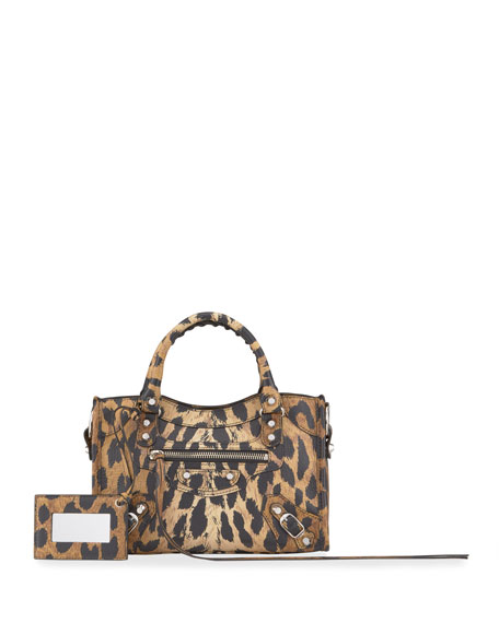 Balenciaga Classic City Mini AJ Leopard Satchel Bag