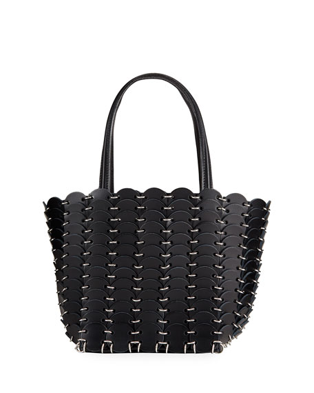 Paco Rabanne Mini Cabas Leather Disc Tote Bag
