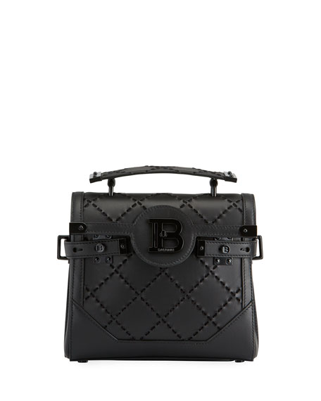 Balmain BBuzz 23 Suede & Leather Braided Shoulder Bag