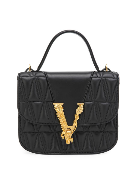 Versace Virtus Quilted Top-Handle Bag