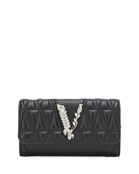 Versace Virtus Quilted Evening Crossbody Clutch Bag