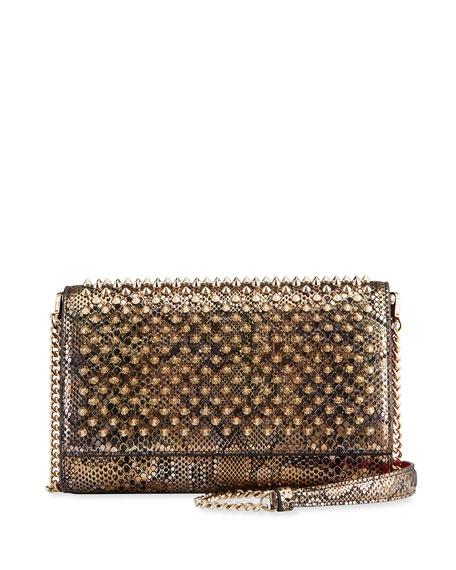 Christian Louboutin Paloma Snake-Print Spike Clutch Bag