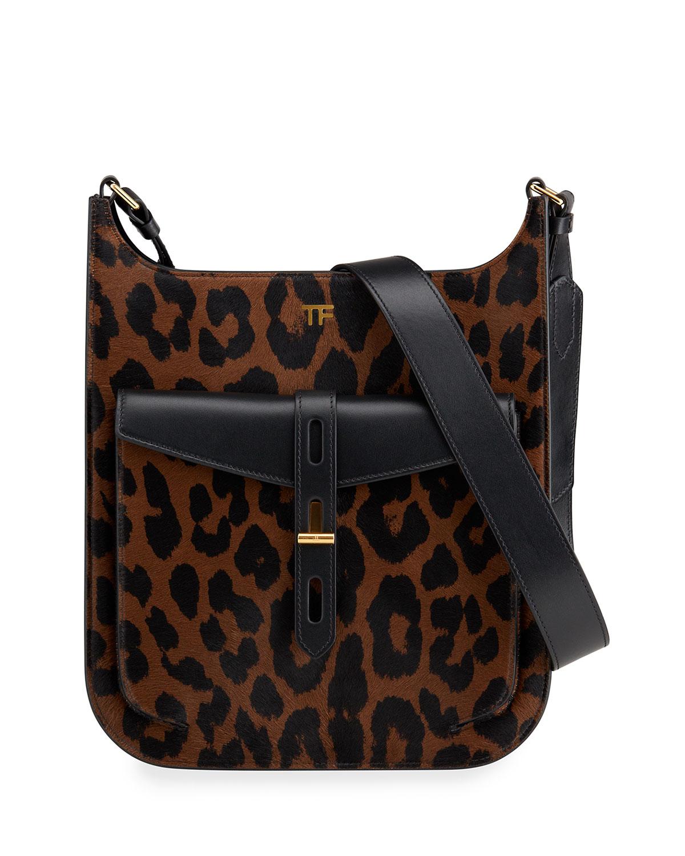 T-Twist Medium Leopard-Print Crossbody Bag