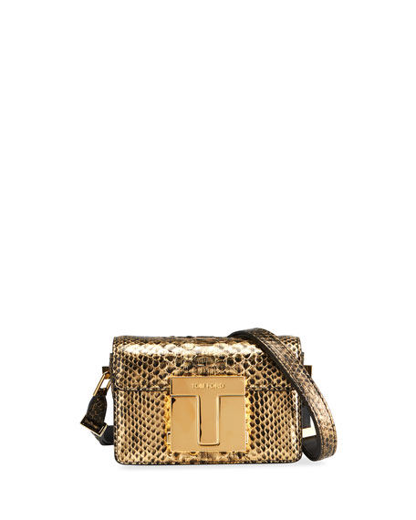 TOM FORD T Clasp Python Shoulder Bag