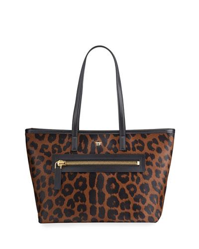 Medium Leopard-Print Zip Tote Bag