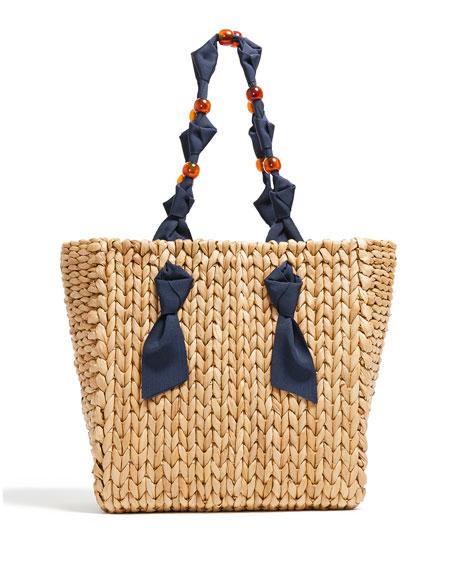 Pamela Munson Petite Isla Bahia Bicolor Woven Tote Bag