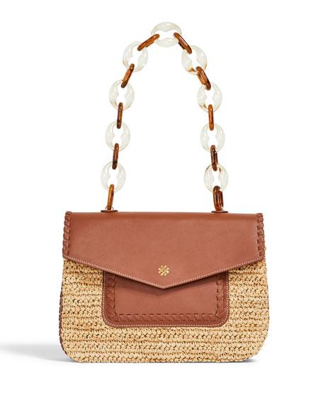 Pamela Munson Las Olas Raffia/Leather Shoulder Bag