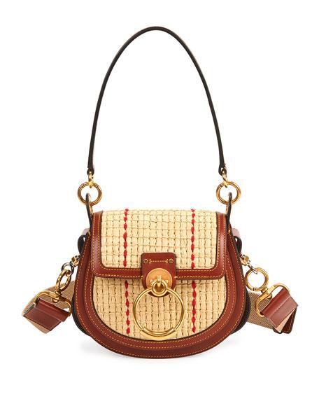 Chloe Tess Small Raffia Crossbody Bag