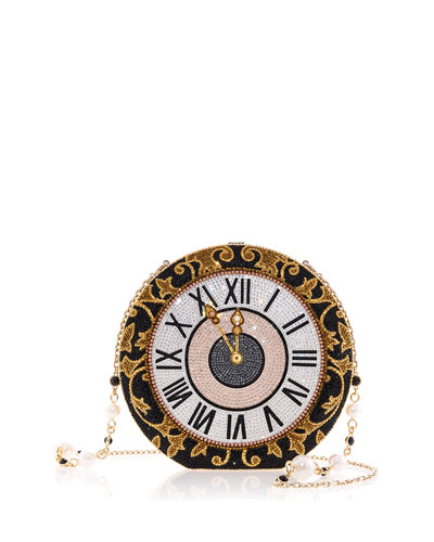 Disc Midnight Strikes Clockface Crystal Clutch Bag