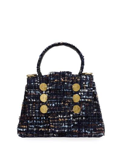 Petite Tweed Trapezoid Top-Handle Bag