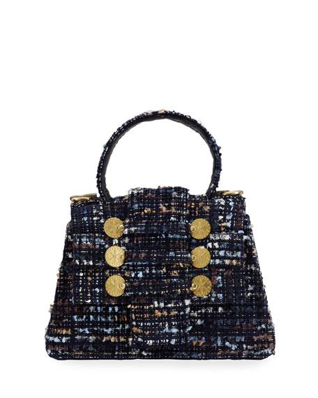 Kooreloo Petite Tweed Trapezoid Top-Handle Bag