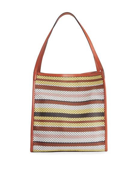 Rebecca Minkoff Multicolor Perforated Stripe Tote Bag