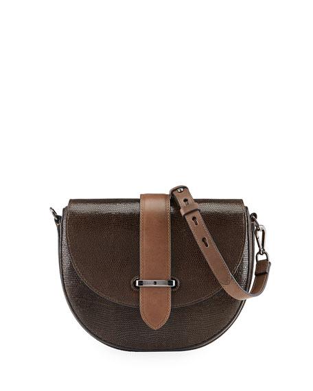 Brunello Cucinelli Laminated Leather Half-Moon Crossbody Bag
