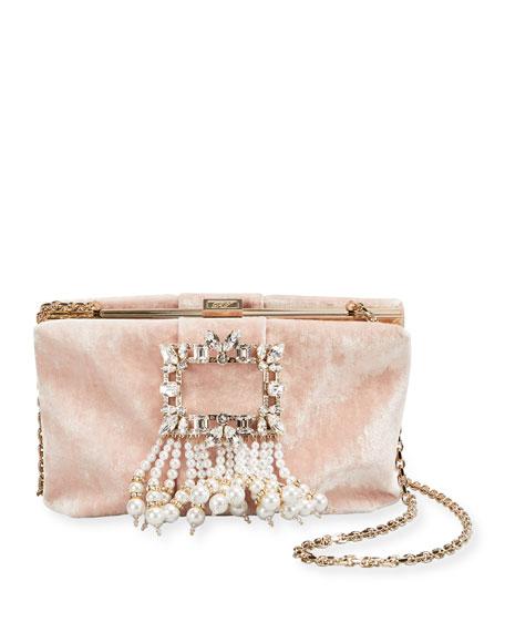 Roger Vivier RV Broche Pearls Soft Velvet Clutch Bag