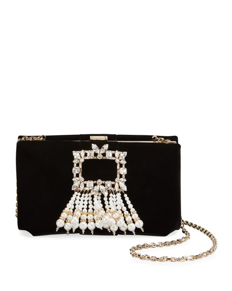 Roger Vivier RV Broche Pearls Soft Velvet Clutch Bag