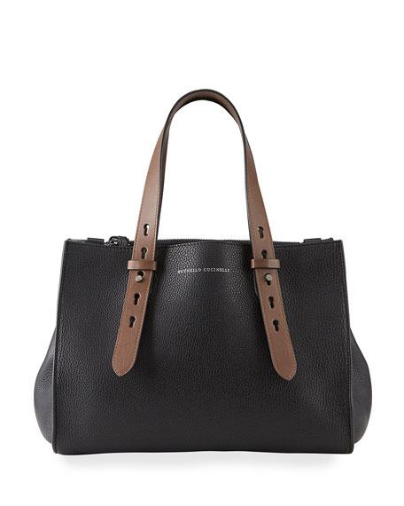 Brunello Cucinelli XL Bicolor Leather Tote Bag