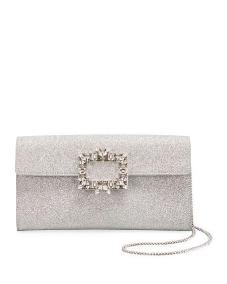 Roger Vivier RV Broche Glitter Envelope Flap Clutch Bag