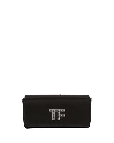 Satin Crystal TF Logo Clutch Bag