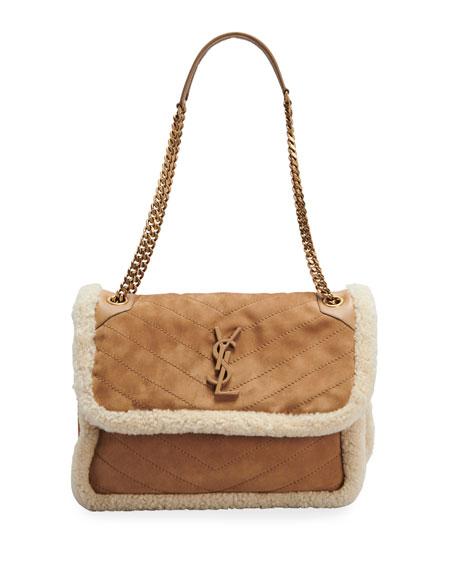 Saint Laurent Niki Medium Suede Shearling Shoulder Bag