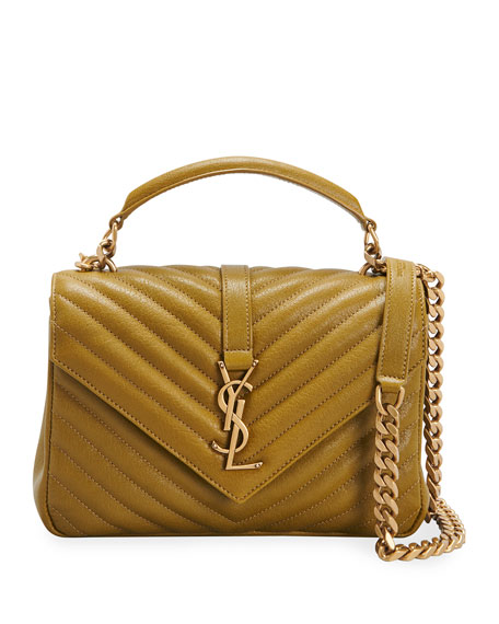 Saint Laurent College Medium YSL Matelasse Lambskin V-Flap Crossbody Bag with Golden Hardware
