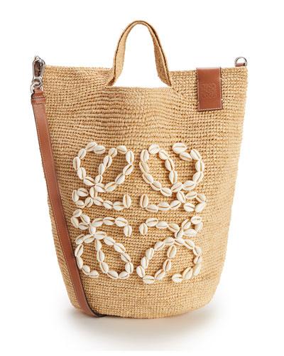 x Paula's Ibiza Seashell Raffia Large Beach Tote Bag