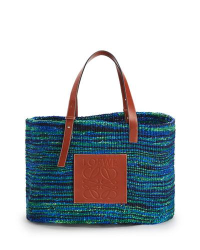 x Paula's Ibiza Large Sisal/Calf Basket Tote Bag