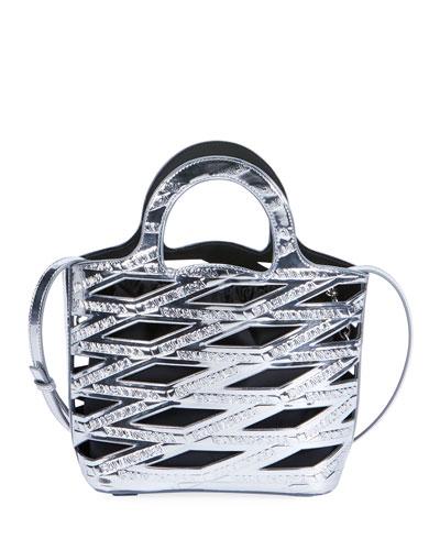 Neo Metallic Logo Basket Tote Bag