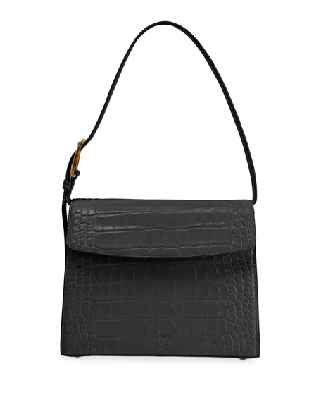 Balenciaga Ghost Medium Crocodile-Embossed Leather Shoulder Bag
