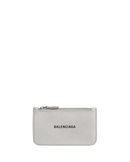 Balenciaga Calfskin Leather Zip Pouch Wallet