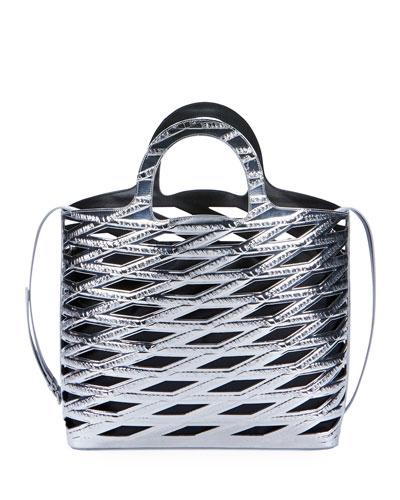 Neo Metallic Basket Tote Bag