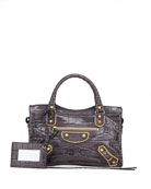 Balenciaga Metallic Edge City Small Mock Croc Satchel