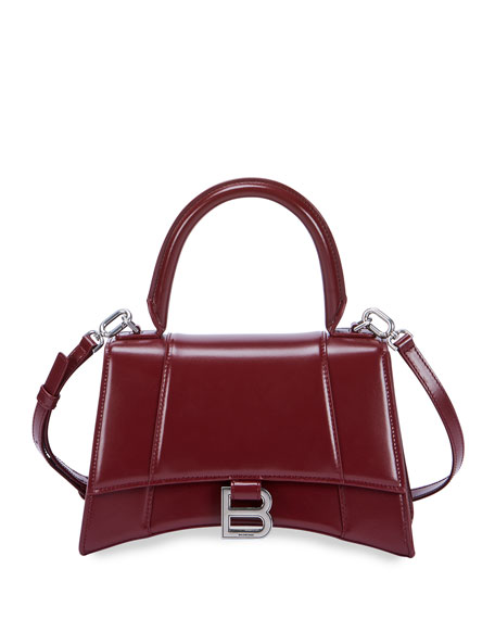 Balenciaga Hourglass Small Shiny Leather Top-Handle Bag