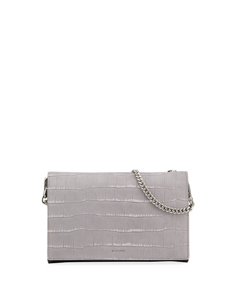 AllSaints Claremont Croc-Embossed Chain Crossbody Bag