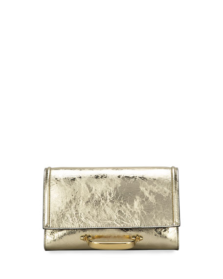 Alexander McQueen The New Story Small Metallic Leather Clutch Bag