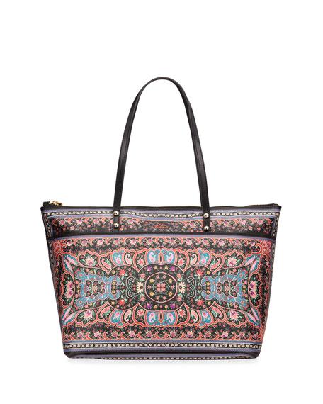 Etro Black Kaleidoscope Zip Tote Bag