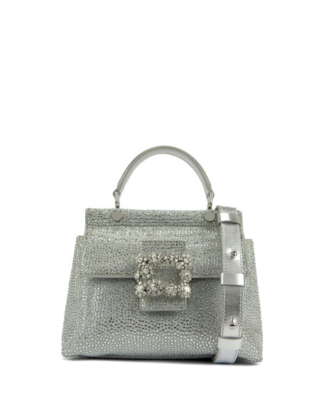 Roger Vivier Crystal-Embellished Leather Top-Handle Bag